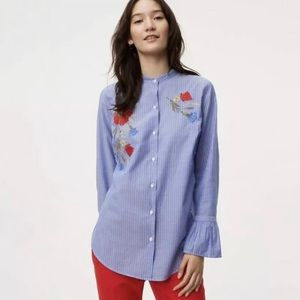 Loft Striped Floral Embroidered Flare Cuff Blouse